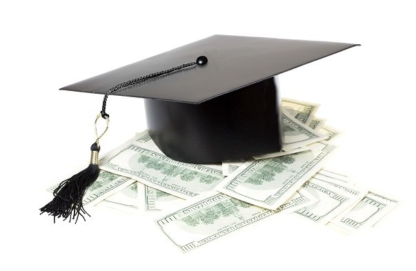 graduation mortar board and money