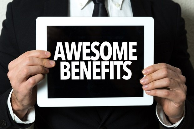 sign saying awesome benefits