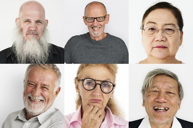collage of older people's faces