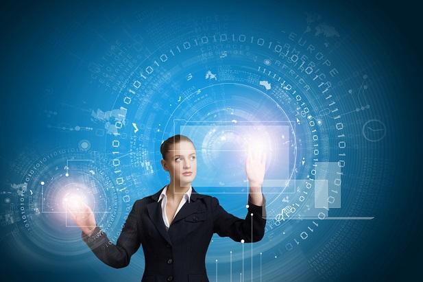 business woman touching computer screens