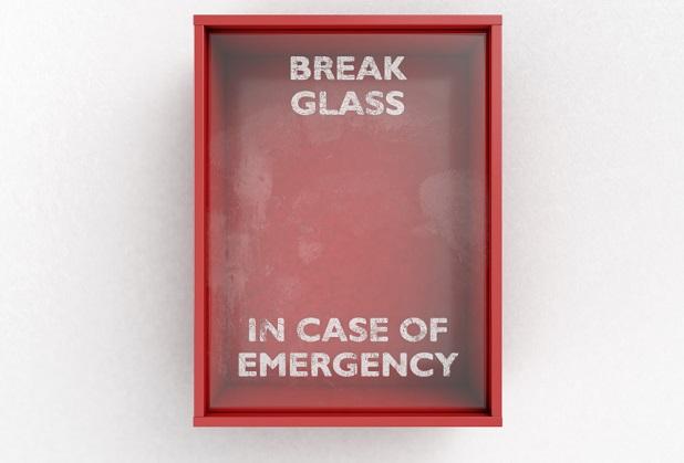empty glass box says break glass in case of emergency