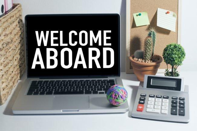 Welcome Aboard on laptop screen