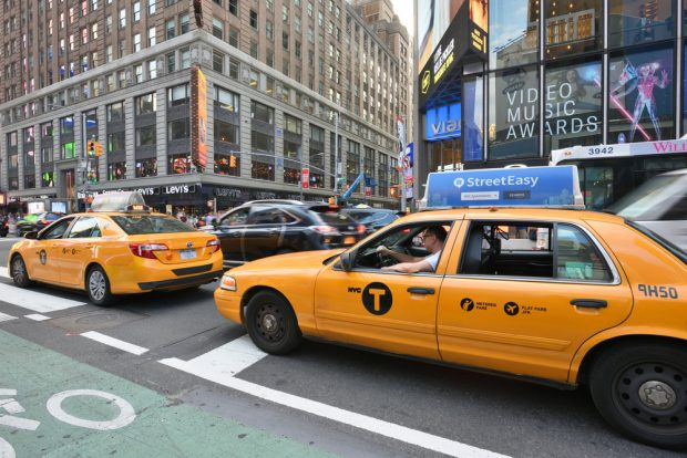 line of taxis in New York City