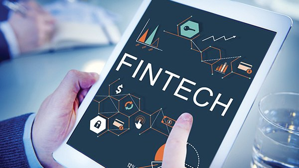 Tablet with fintech graphic