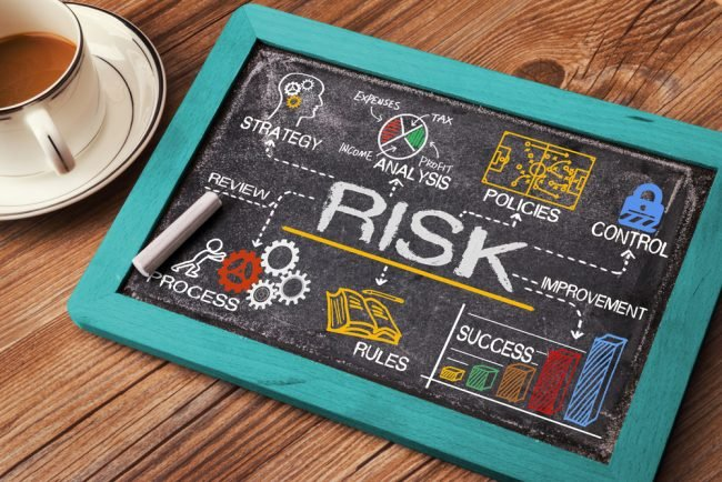 Risk with graphs on chalkboard