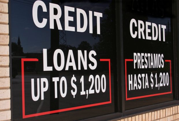 Payday lending sign.