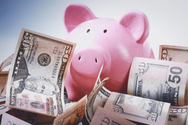 cash in a piggy bank