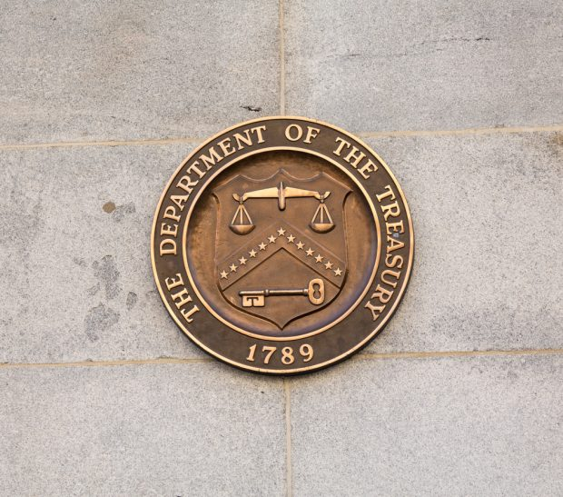 Seal on Treasury Building in Washington, D.C.
