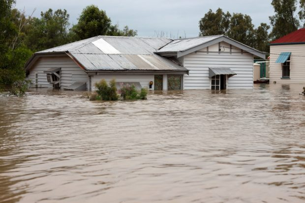 flooded country house