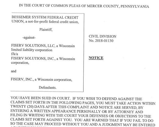 court filing against Fiserv