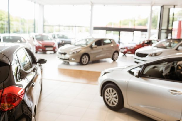 inside a car dealership showroom