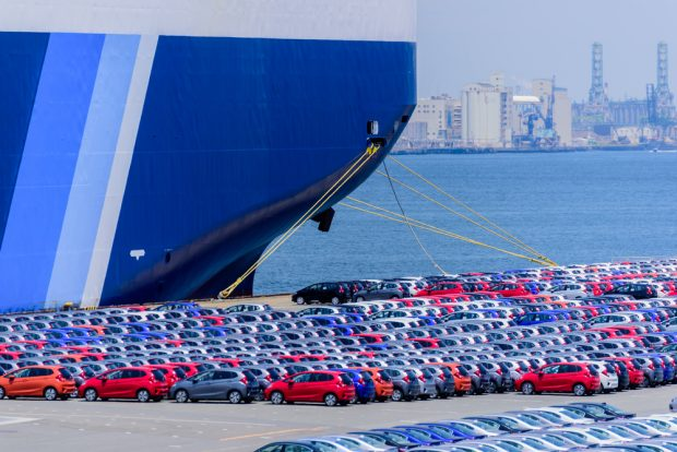 Cars being shipped from Asia.
