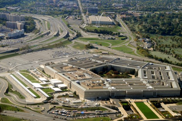 Aerial of the Pentagon, the Department of Defense headquarters in Arlington, Va.