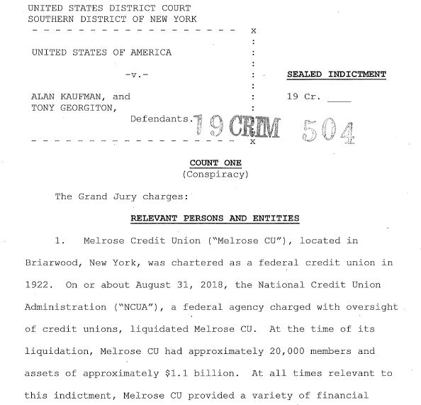 Cover page of the indictment.