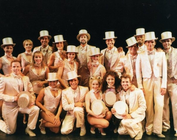 "Premier America CU's Marci Francisco (front row, second from right) poses with the rest of the cast of ""A Chorus Line."""