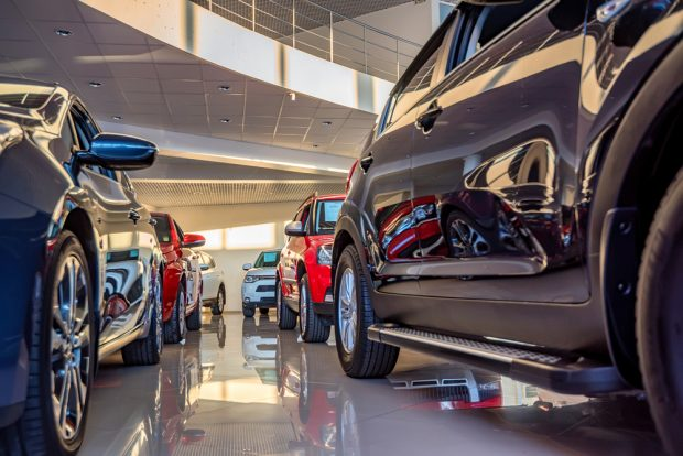 Car dealership showroom.
