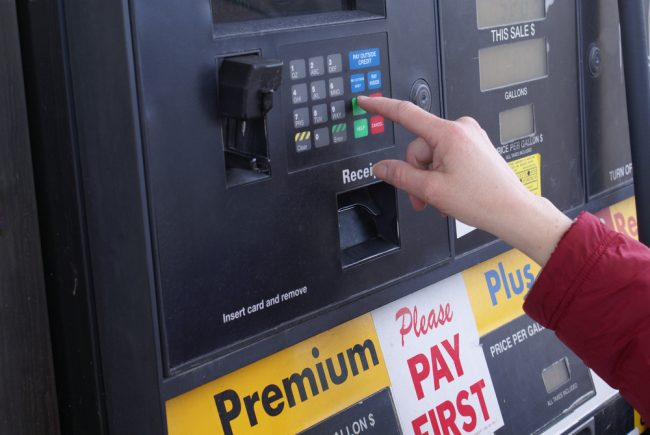 Gas station pump payment