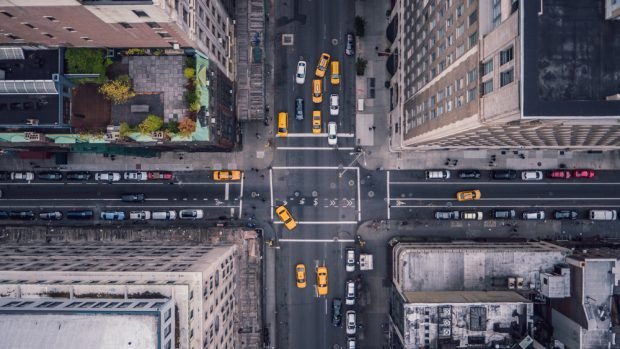 New York City taxis view from above.