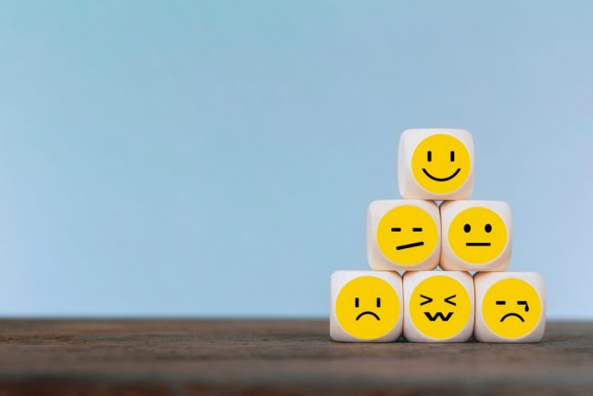 Emotions on smiley faces