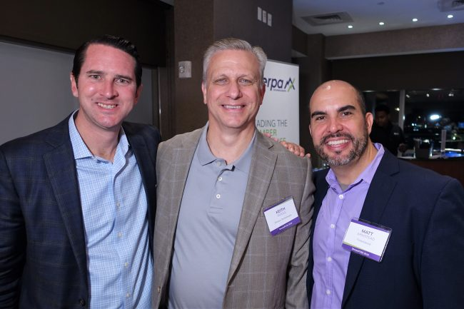 From left to right: Entrepreneur Matt Armstead, Sherpa's Keith Riddle and Horizon TwoLabs' Kevin Pohmer at the FintechAccel I CU showcase.