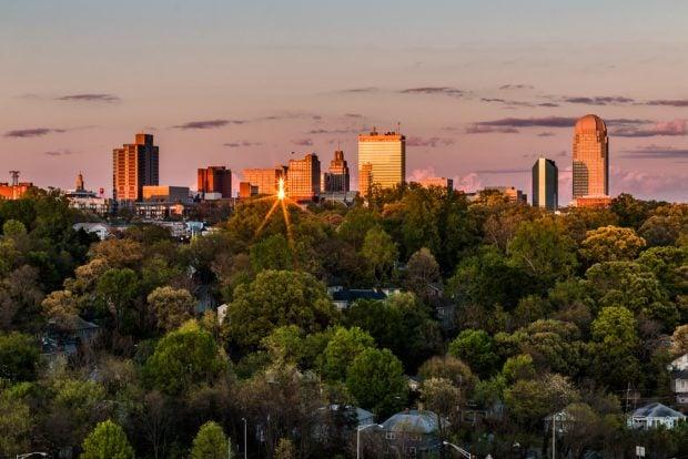 Downtown Winston-Salem, N.C. at sunset.