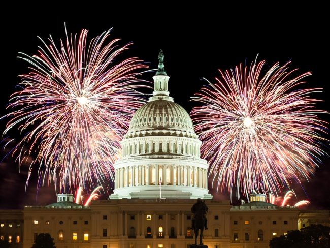 Fireworks over the Capitol building.