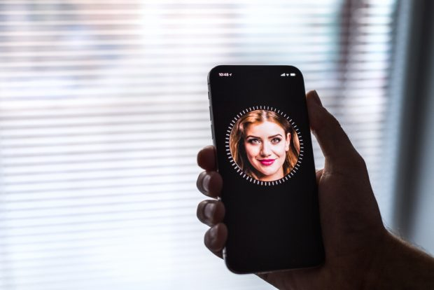 Apple iPhone X smartphone, FACE ID set up.