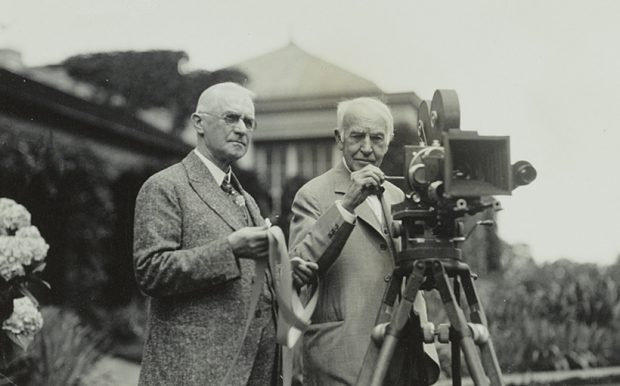 George Eastman, left, inventor of the Kodak camera and founder in 1920 of what is now ESL Federal Credit Union, with inventor Thomas Edison at Eastman's home in Rochester, N.Y. in July 1928.
