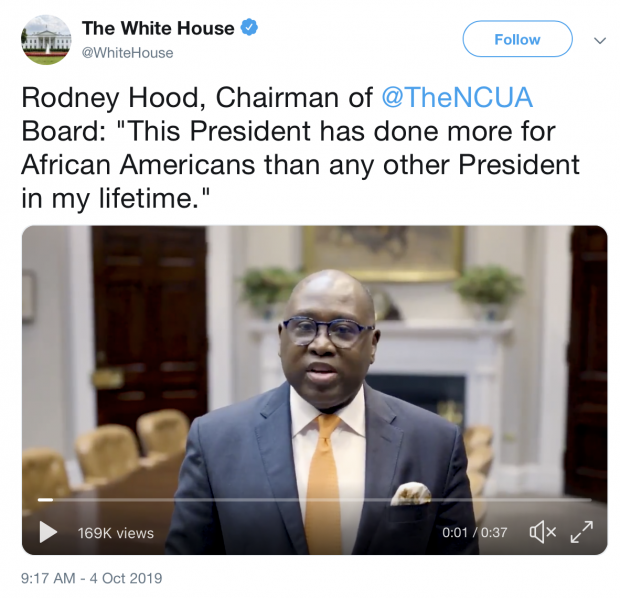 Screenshot of Hood's video posted on the White House's official Twitter feed last October.
