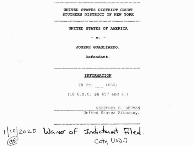 Federal court document filed in Joseph Guagliardo case on Friday, Jan. 10.