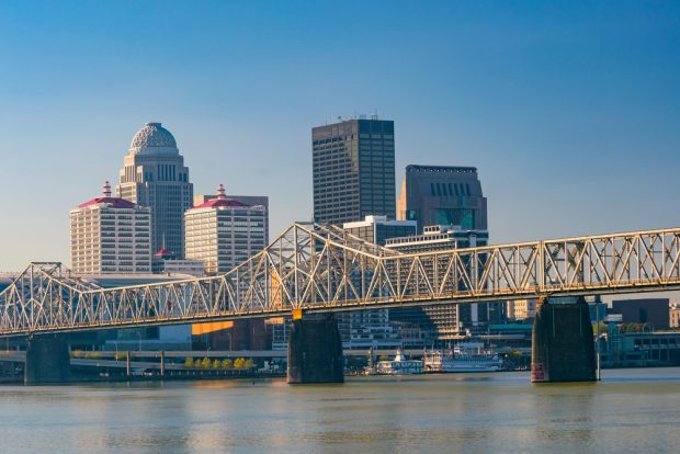 Skyline view of downtown Louisville, Ky.