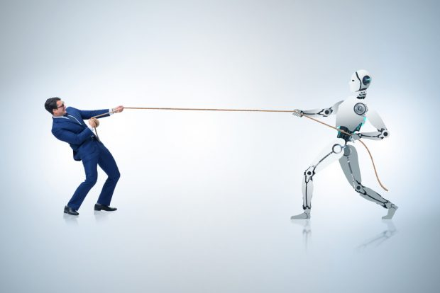 struggle between humans and robots