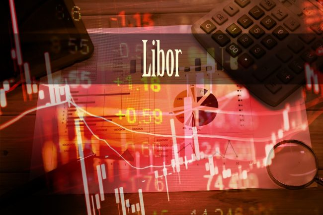 The word Libor with financial graphs and calculator