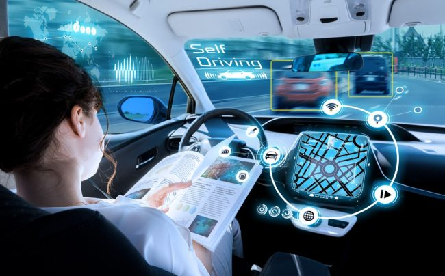 Woman in self-driving car
