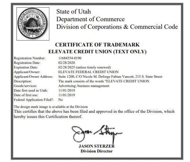 Copy of Elevate FCU's Certificate of Trademark from the State of Utah.