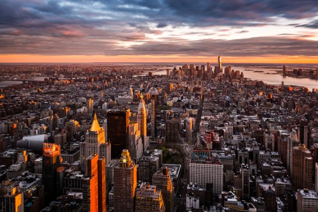 Manhattan skyline at sunset.