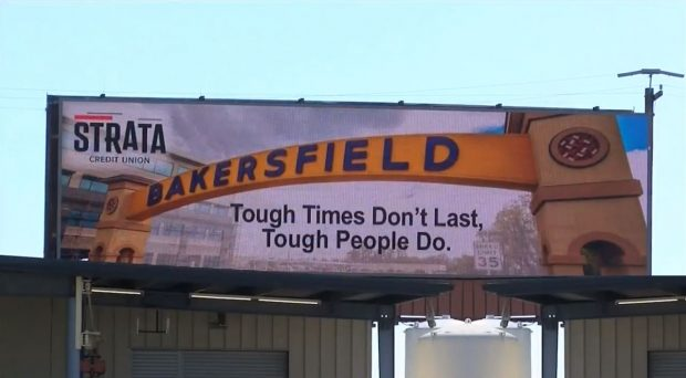 Billboard put up around Bakersfield, Calf. by Strata Federal Credit Union.