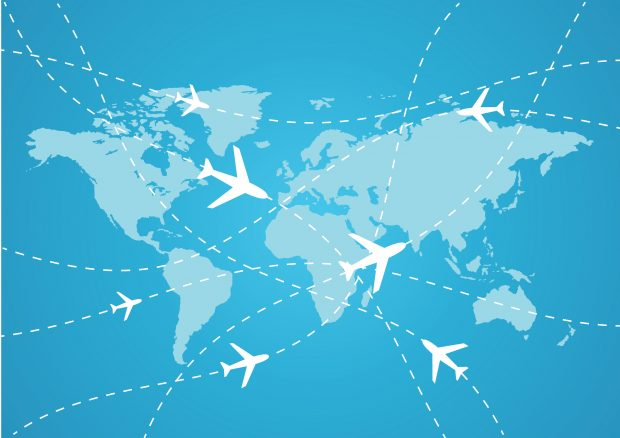 airline travel map of the globe