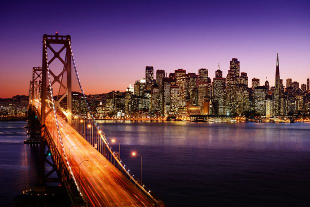 san francisco skyline and bridge at dusk.