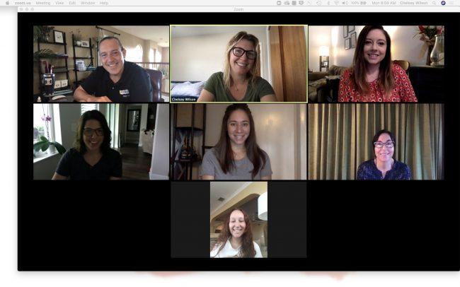 Achieva CU's marketing team meets remotely via Zoom.