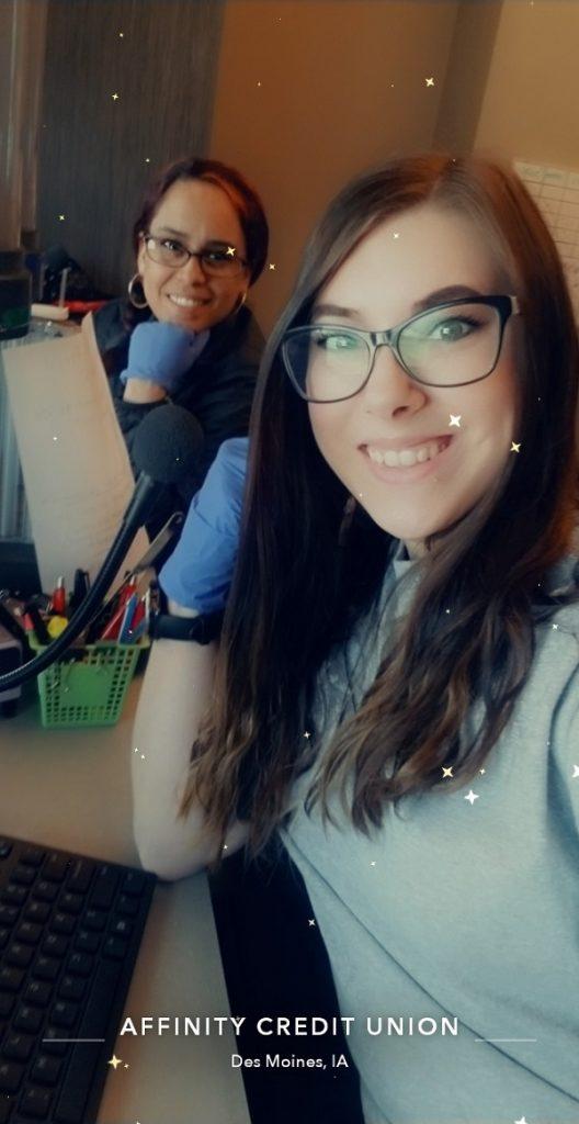 Affinity CU tellers Crystal Garnett and Megan Collins