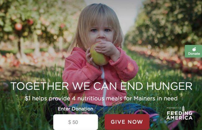 Screenshot from the Good Shepherd Food Bank of Maine's website.