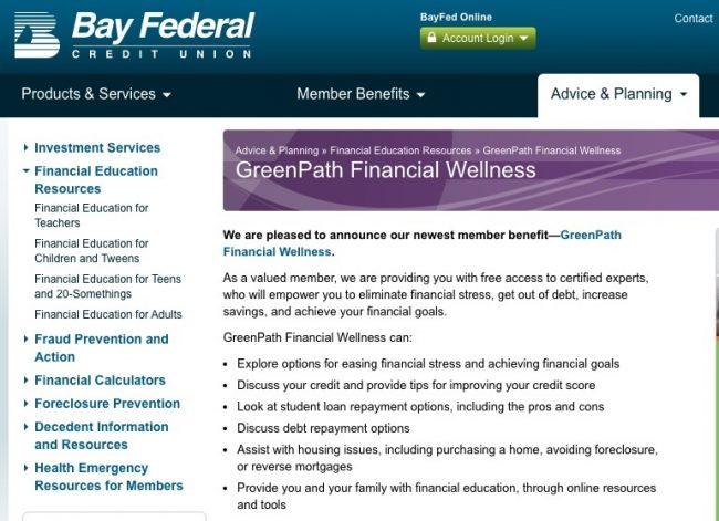 Screenshot from Bay FCU's website.
