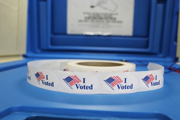 """A roll of """"I Voted"""" stickers."""