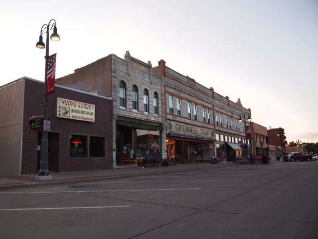 Local businesses in downtown Grinnell, Iowa.