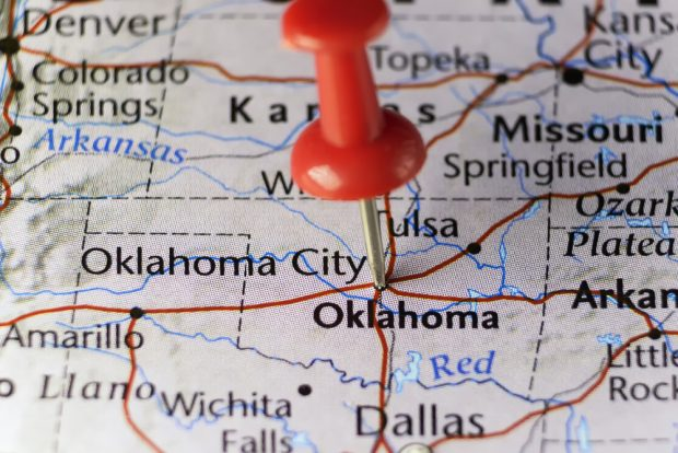 Map of Oklahoma with a pin in it marking Oklahoma City.