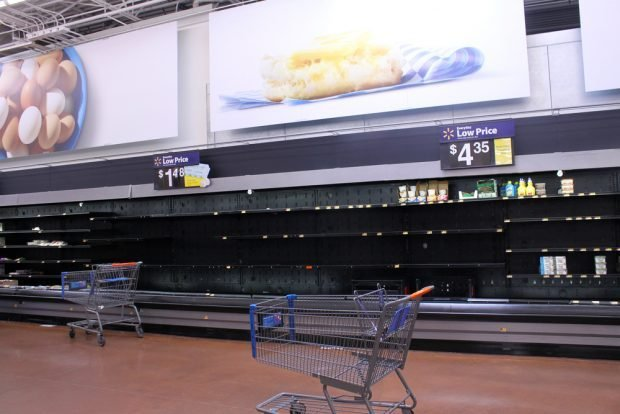 Empty shelves at a store in Phoenix, March 18, 2020.