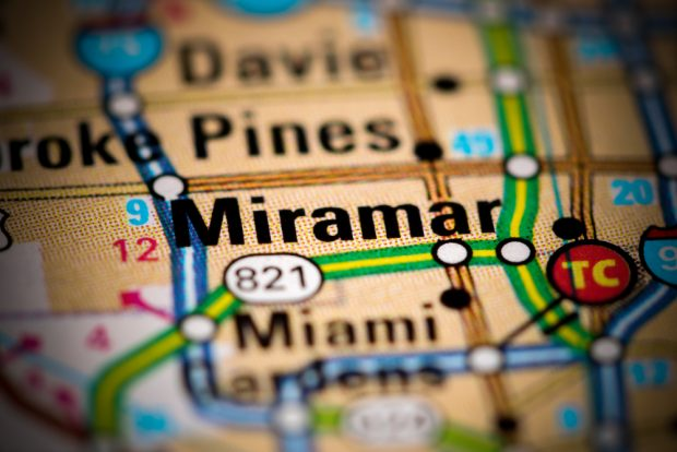 Miramar. Florida on a map