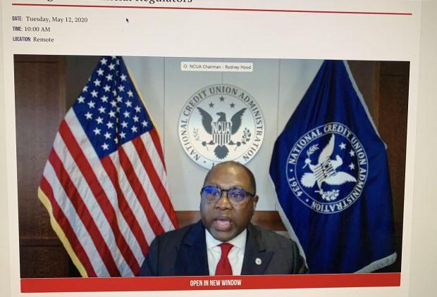 NCUA Chairman Rodney Hood during a virtual Senate Banking Committee hearing.