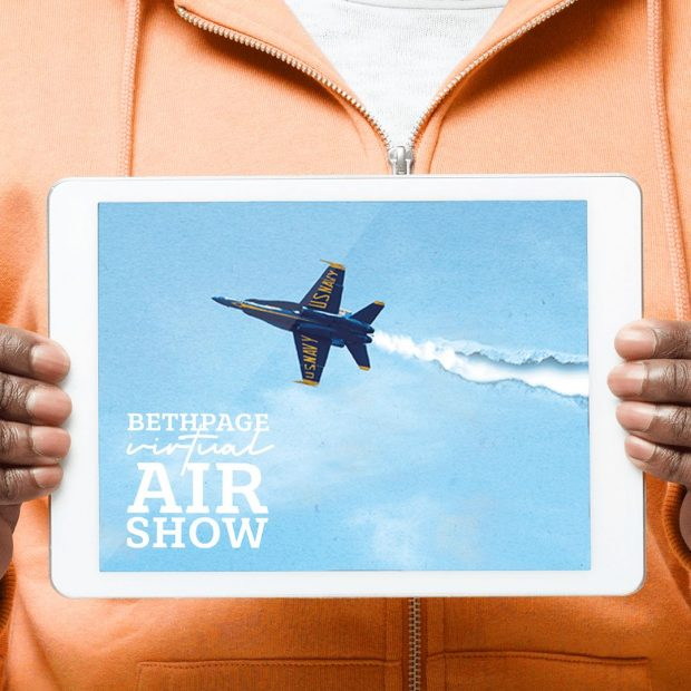Bethpage Virtual Air Show sign.